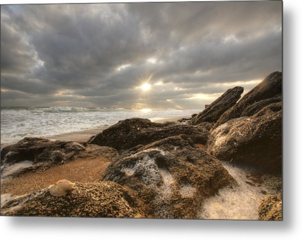 Sunrise Surf On The Rocks Metal Print by Danny Mongosa