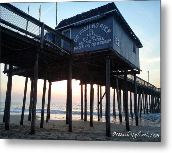 Sunrise Under The Oc Fishing Pier Metal Print