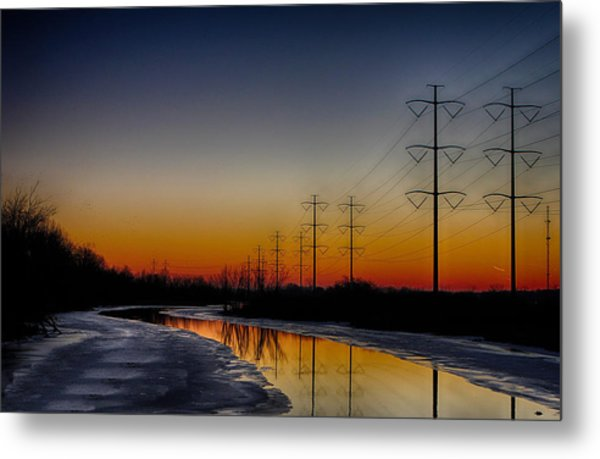 Sunrise Winter Reflection Metal Print