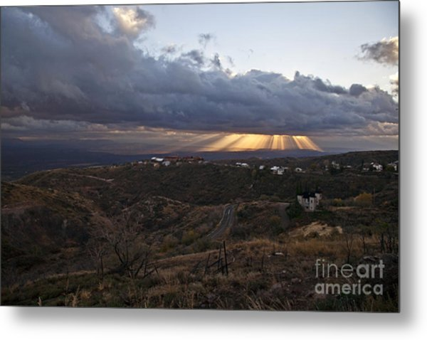 Suns Rays After Sunrise From Jerome Arizona Metal Print