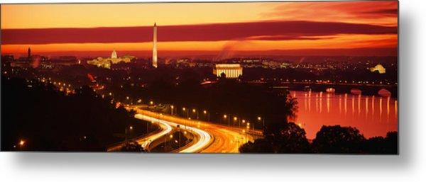 Sunset, Aerial, Washington Dc, District Metal Print