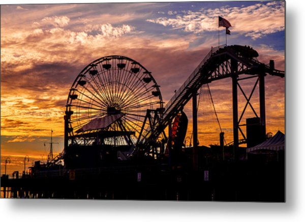 Sunset Amusement Park Farris Wheel On The Pier Fine Art Photography Print Metal Print
