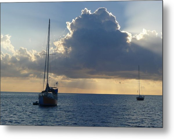 Sunset And Boats - St. Lucia Metal Print