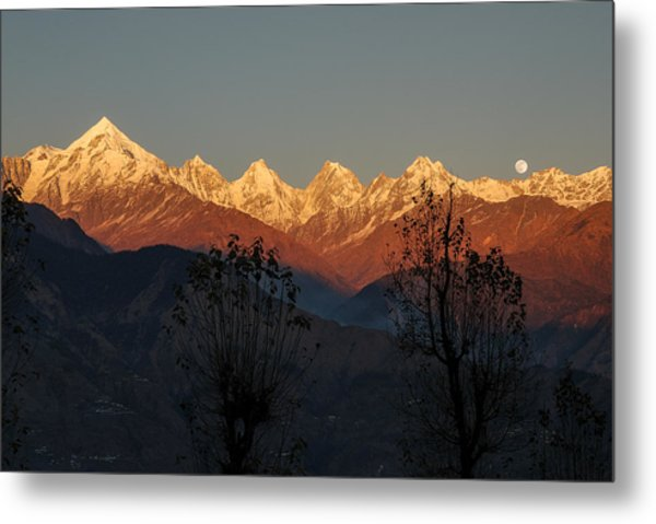 Sunset And Moonrise. The Rendezvous. Metal Print