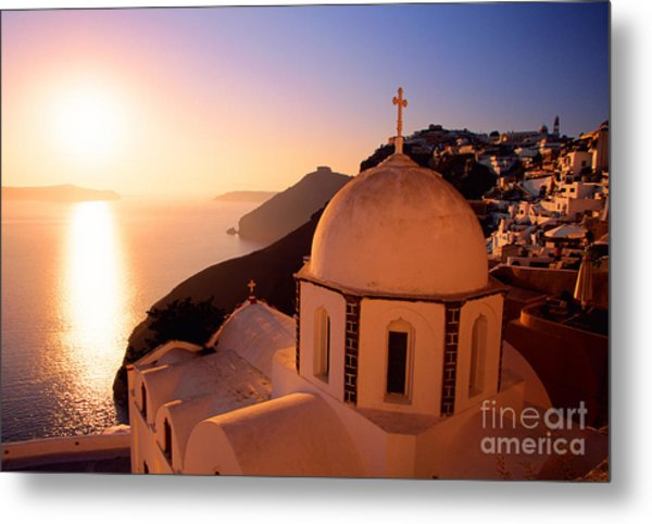 Sunset And Orthodox Church Metal Print