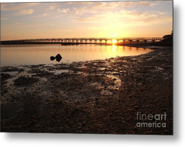 Sunset And Wooden Bridge In Ludo Metal Print