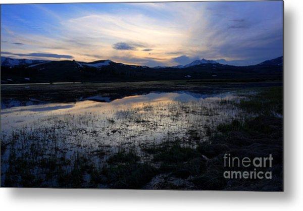 Sunset At A Lake Near Mammoth In Yellowstone Metal Print