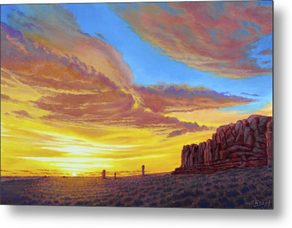 Sunset At Arches Metal Print