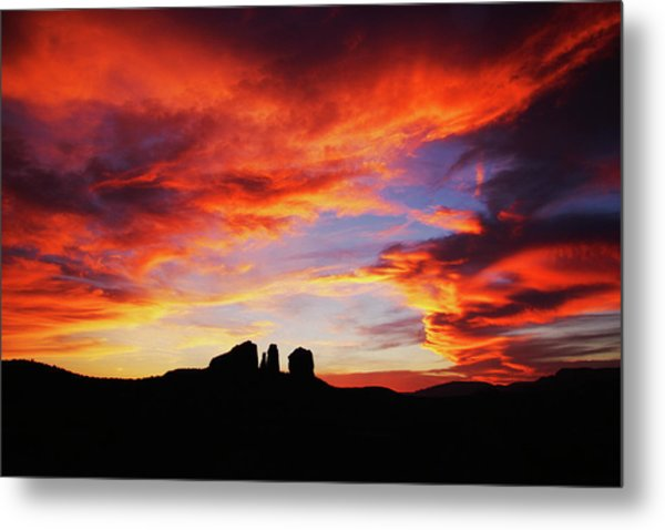 Sunset At Cathedral Metal Print