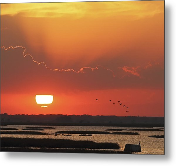 Sunset At Cheyenne Bottoms Metal Print