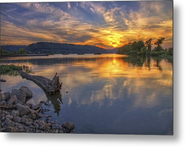 Sunset At Cook's Landing - Arkansas River Metal Print