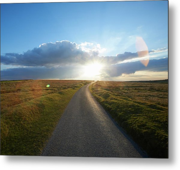 Sunset At End Of Long Country Road Metal Print by Dougal Waters