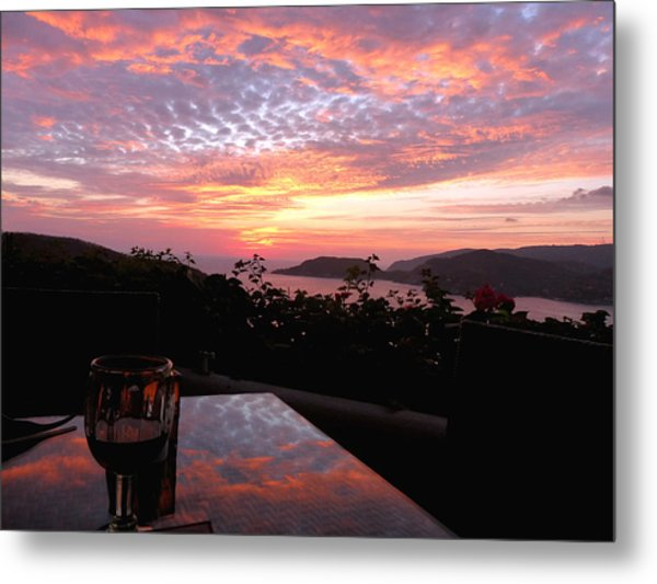 Sunset Over Zihuatanejo Bay Metal Print