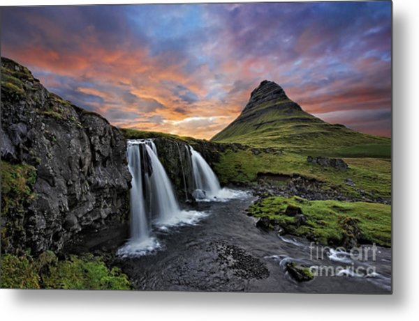 Sunset At Mt. Kirkjufell Metal Print