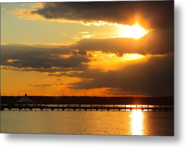 Sunset At National Harbor Metal Print