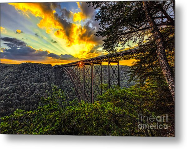 Sunset At New River Gorge Bridge Metal Print by Mark East