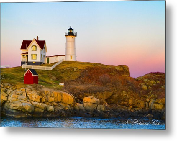 Sunset At Nubble Lighthouse Metal Print