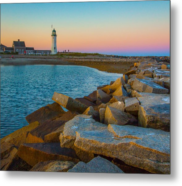 Sunset At Old Scituate Lighthouse Metal Print