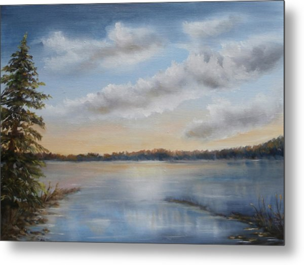 Metal Print featuring the painting Sunset At Sparta Lake New Jersey by Katalin Luczay