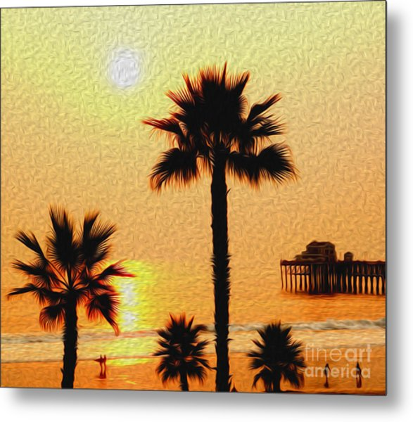 Sunset At The Beach In Oceanside California Metal Print
