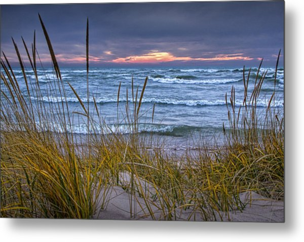 Sunset On The Beach At Lake Michigan With Dune Grass Metal Print