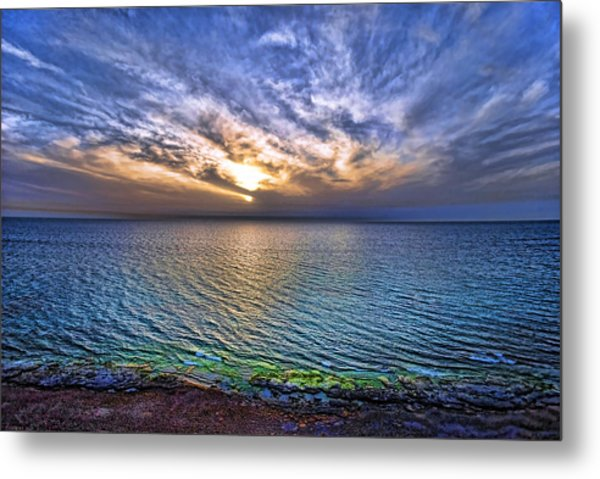 Sunset At The Cliff Beach Metal Print