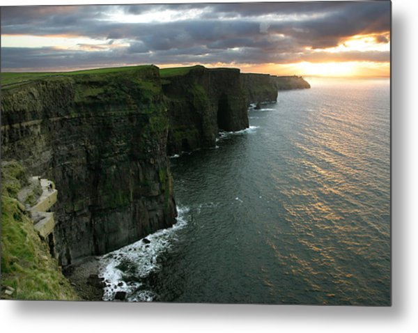 Sunset At The Cliffs Of Moher Ireland Metal Print