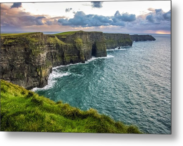 Sunset At The Cliffs Of Moher Metal Print