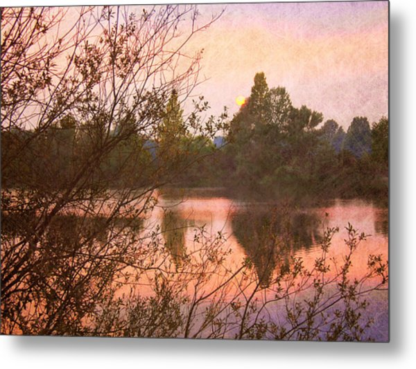 Sunset At The Lake Metal Print by Angela Bruno