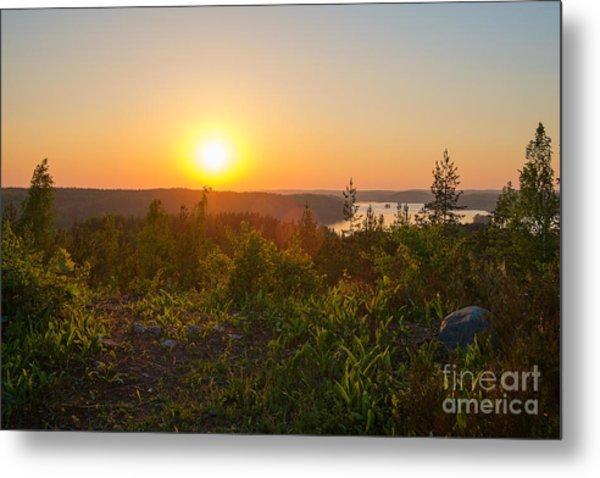 Sunset At The Lake Hiidenvesi Metal Print