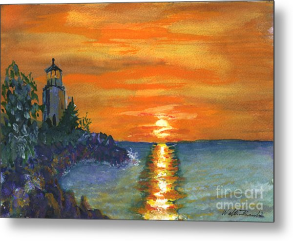 Sunset At The Lighthouse Metal Print
