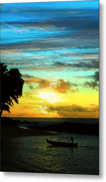 Sunset At The Luau Metal Print