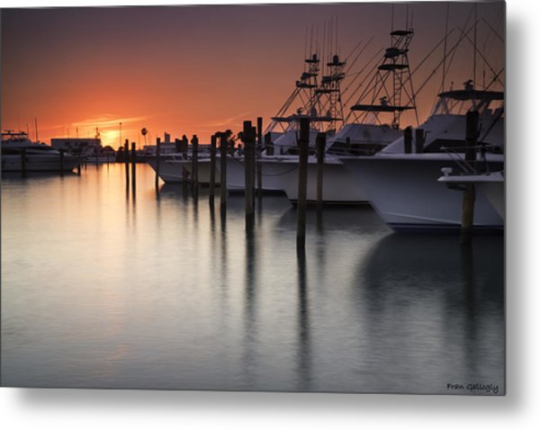 Sunset At The Pelican Yacht Club Metal Print