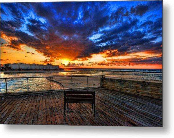 Metal Print featuring the photograph sunset at the port of Tel Aviv by Ron Shoshani