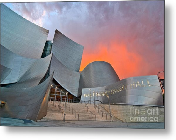 Sunset At The Walt Disney Concert Hall In Downtown Los Angeles. Metal Print