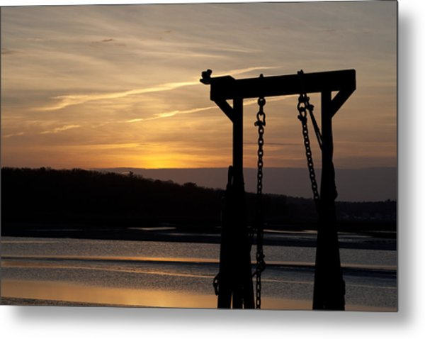 Sunset Barge  Metal Print by Eugene Bergeron