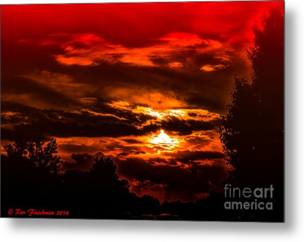 Sunset Before The Storm Metal Print by Ron Fleishman
