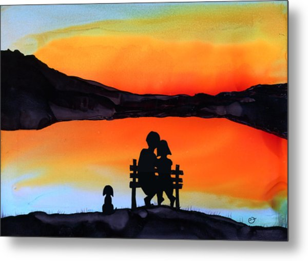 Sunset Bench Metal Print