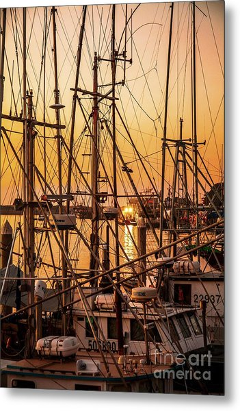 Sunset Boat Masts At Dock Morro Bay Marina Fine Art Photography Print Sale Metal Print