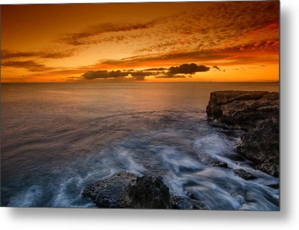 Sunset By The Cliff Metal Print