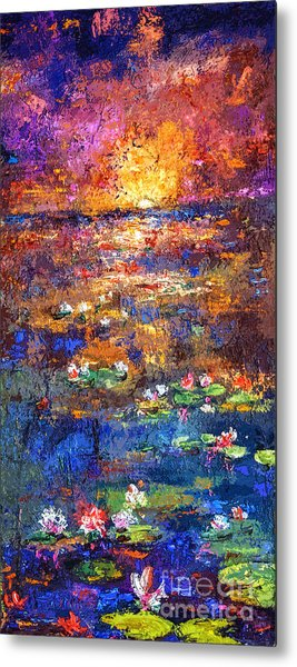 Sunset By The Lily Pond Metal Print