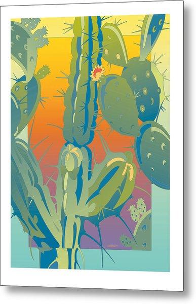 Sunset Cactus Metal Print