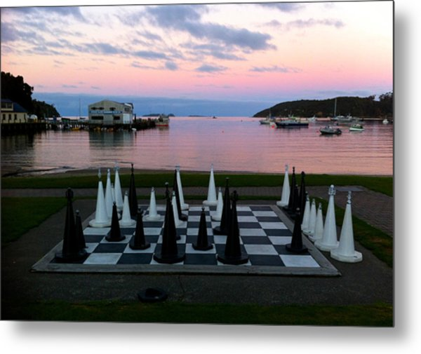Sunset Chess At Half Moon Bay Metal Print