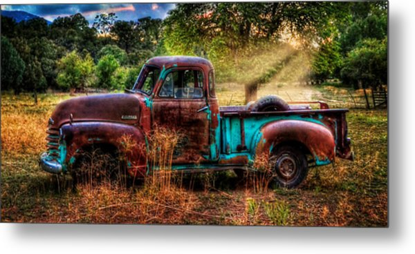 Sunset Chevy Pickup Metal Print