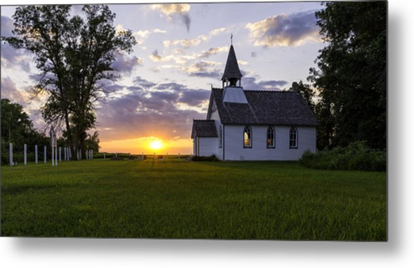 Sunset Church Metal Print