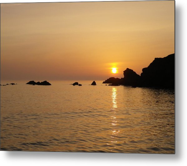 Sunset Crooklets Beach Bude Cornwall Metal Print