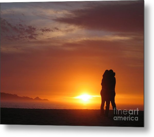 Sunset Cuddle Metal Print