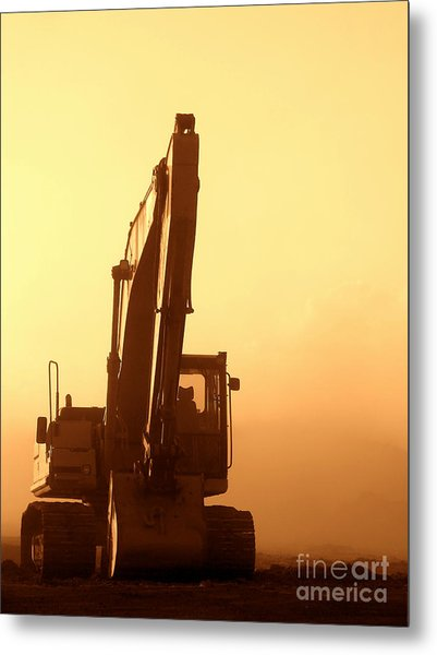 Sunset Excavator Metal Print