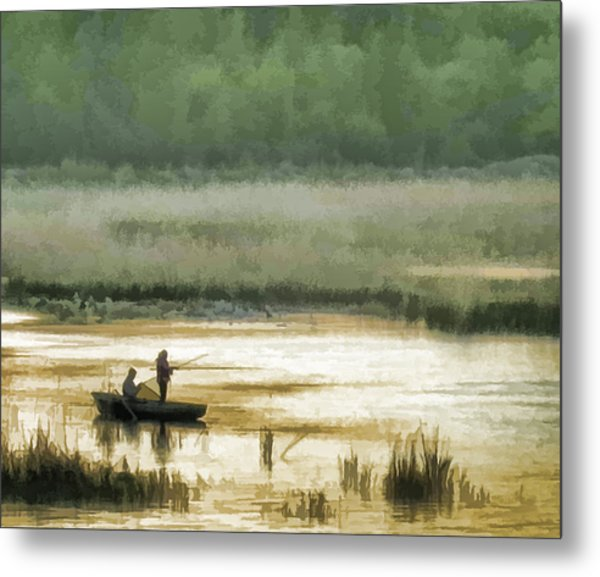 Sunset Fishing On The Volga Metal Print by Glen Glancy