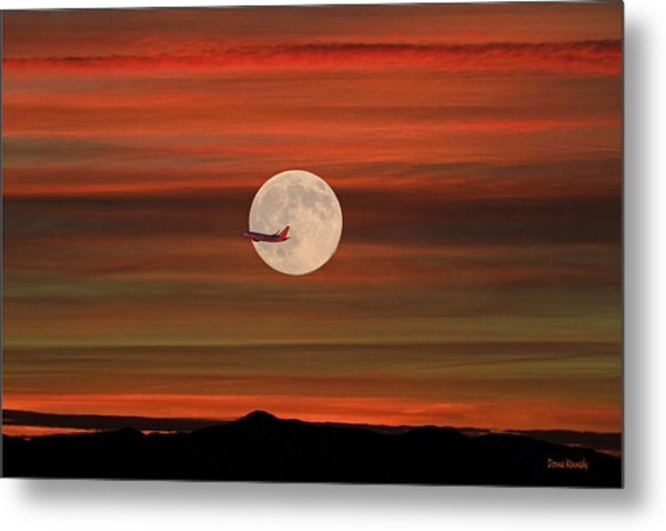 Sunset Flight With Full Moon Metal Print